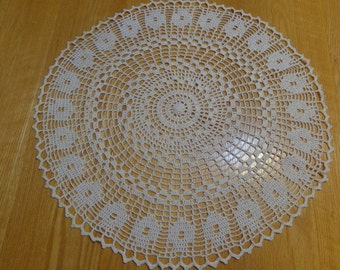 Large round hand crocheted doily