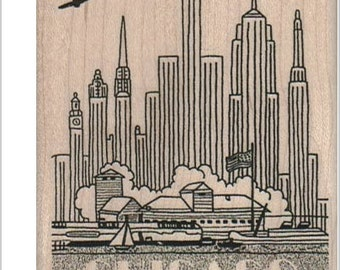 rubber stamps stamping rubberstamp Chicago Illinois Skyline   scrapbooking supplies number 16108