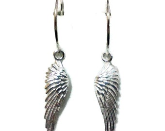 Angel Wing Earrings, Bird Feather Earrings, Memorial Jewelry, Sterling Silver Earrings, Boho Dangle Earrings, Birthday Gift for Her
