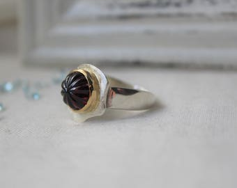 Sterling silver, 18k Yellow Gold and Sculpted Garnet Ring - SIZE 8.25 - READY to SHIP