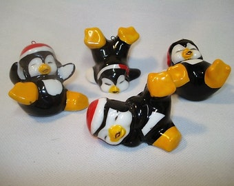4 Whimsical Christmas Penguins - Hang Them On The Tree or Sit Them Where You Want