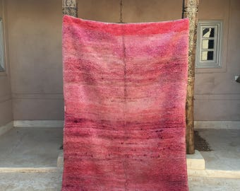 "Pink Is My Favorite Color 4'6"" x 7'4"" -  Moroccan Berber Beni Ourain Azilal Boucherouite Boujaad Beni Mguild Rug"