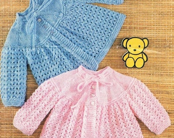 DK Baby Knitting Pattern - Matinee Coats - 17 to 18 ins - PDF - Instant Download