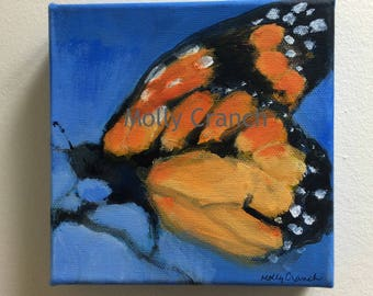 Original Painting of Monarch Butterfly- miniature canvas wall decor