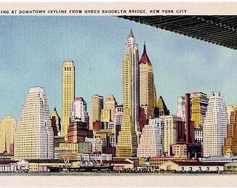 Vintage New York City Postcard - Downtown Skyline from under the Brooklyn Bridge (Unused)