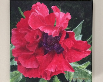 Red Poppy Original Acrylic Painting, Fancy Poppy, Remembrance, Beauty, flower art, realism flower art, garden flowers, red poppies, love