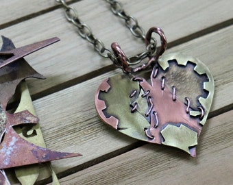 Handmade Brass and Copper Mended Heart Pendant One-of-a-kind