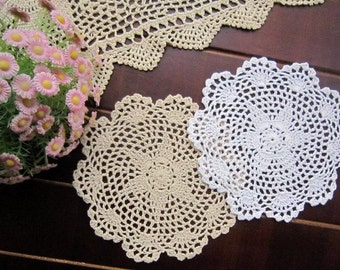 "Lot of 12 pcs, hand crochet 8"" round doilies for wedding, handmade lace doilies centerpiece, table mat for home decor"