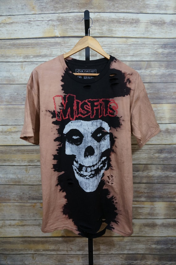 Vintage inspired custom bleached distressed misfits t shirt for Custom t shirts distressed