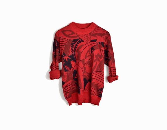 Vintage Red Jungle Print Sweatshirt - women's small/petite