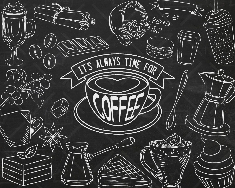 Chalkboard Art Printable ENJOY TODAY Coffee Quotes Digital ...  |Coffee Chalk Art