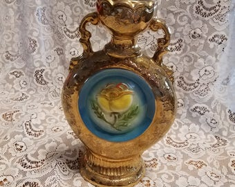 Vintage Jim Beam Collector Decanter Gold with Yellow Rose