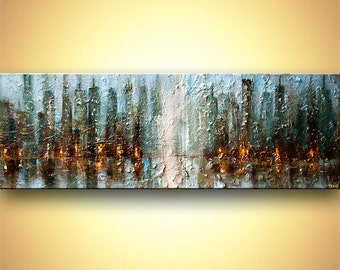 "Huge ORIGINAL Contemporary Blue Abstract City Painting Heavy Texture Modern Acrylic Downtown Painting by Osnat 72"" x 24"""
