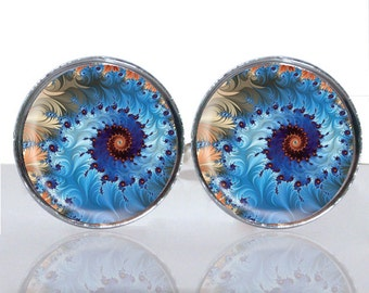 Round Glass Tile Cuff Links - Abstract Burst CIR160