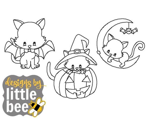 Gatos de Halloween otoño! calabaza Luna & bat bordado línea de ...