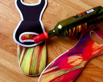 Wine Tote -Red Iris