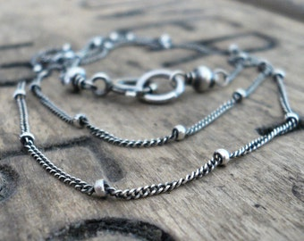 Necklace Design Your Own Series -  Oxidized Sterling Silver Satellite Chain