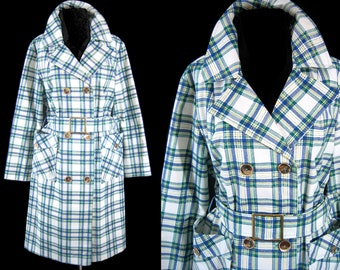 Vintage 1960's MOD PLAiD TReNCH COAT White Double Breasted Gold Buttons M/L/XL