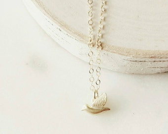 Free as a bird necklace -tiny bird -little gold bird necklace