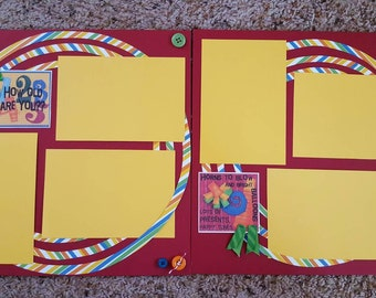 Pre-made 12x12 Birthday Boy Scrapbook pages