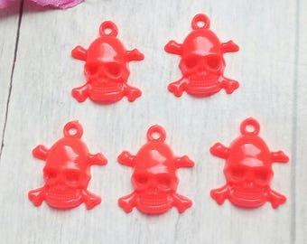 Set of 5 acrylic neon Orange skulls charms