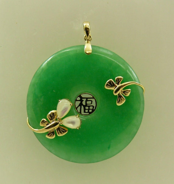 Green Jade 36 mm and Mother of Pearl Pendant with 14k Yellow Gold