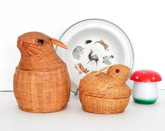 Rabbit Rattan Baskets- Animal Decor-