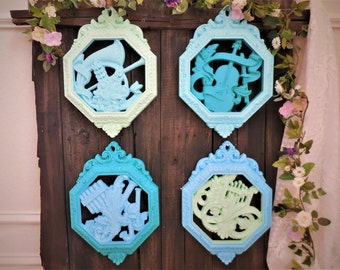 Blue and Green Baroque Wall Hangings, Set of 4,Vintage Homco Home Decor, Nursery, Musical Instruments, Turquoise, Teal, Mint,1976 Dart #7402
