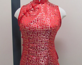 Chinese mandarin top, Oriental top, red chinese top, chinese collar top,size 12 chinese top, sleeveless top,red top no sleeves, shiny top.
