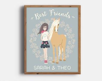 Horse Art for Girl, Girl Horse Gift, Personalized Horse Art, Horse Print, Horse Decor for Kids, Horse Lover Gift, Printable, Digital File