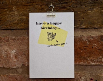 Yikes Kitten Happy Birthday, letterpress greeting card