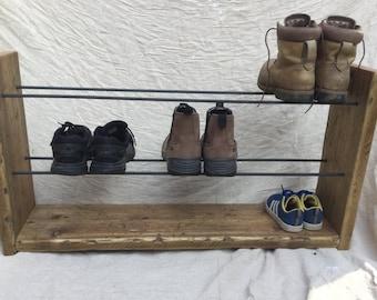 Shoe Rack - Rustic Shoe Rack - Wood Shoe Rack - Shoe and Boot Rack - Storage - Reclaimed Wood - Shoe Storage - Hallway Storage - Rustic Wood