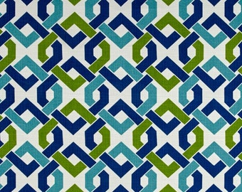 Four 18 x 18 Custom Decorative Pillow Covers  Indoor/Outdoor- Two Patterns: Geometric and Spots - Lime Green / Royal Blue/ Aqua