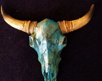 Skull-Art-Cow-Hand-Painted-Faux Turquoise and Wrapped Horns -Artisan-New-4-x-5-inches-Magnet-or Hanger