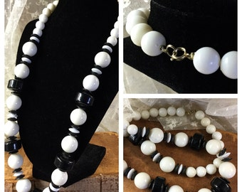 Long Black White Lucite Bead Necklace 1960's 1970's Round Disk Beads Alternating Black White Silver Tone Metal Single Strand Simple Design
