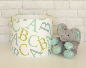 Alphabet 'ABC' Nursery tabe lampshade in blue, green & aqua tones - 25cm diameter