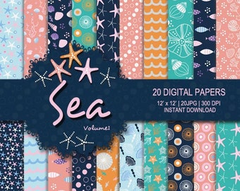 Sea digital paper, sea printable, seashell background, fish digital, starfish pattern, navy pink blue sky blue-green, shell digital paper