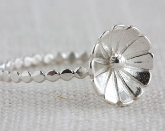Sterling Silver Blossom Ring - Perfect for Stacking