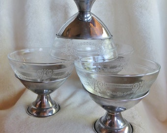 Set of five glass dessert dish inserts with chrome bases from the 1930s