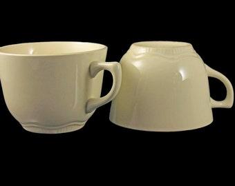 Coffee Mugs, Tea Cups, Set of 2, Cream Colored, USA Backstamp, Basic Mugs, Plain Mugs