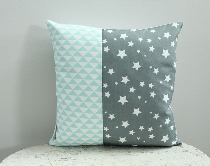 Sale Pillow cover mint star 14 inch 14x14 modern accessory home decor nursery baby gift present zipper closure canvas ready to ship