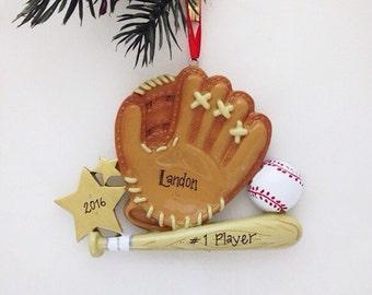 Baseball Christmas Ornament / Personalized Christmas Ornament / Personalized Baseball Ornament / Baseball, Bat, and Glove