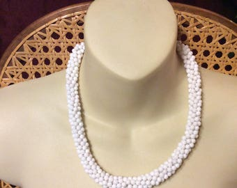 White cluster beads acrylic choker collar necklace. 1960s.