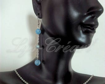 Set earrings and necklace, Pearl blue Crackle effect - By Lily Creart'