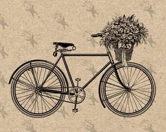 Alte Fahrrad Fahrrad Korb Blumen Bild Instant Download druckbare Vintage Bild Clipart digitale Grafik für den Transfer Dekor Druck 300dpi