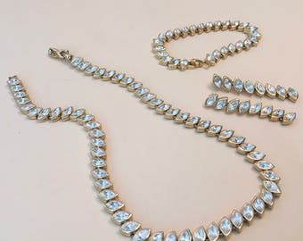 Nina Ricci jewelry set. Parure, necklace,bracelet,earrings. Crystal gems,gold toned.vintage,brides,weddings,special occasion,