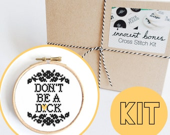 Don't Be A D*ck Modern Cross Stitch Kit - easy chart design with guide rude offensive bad taste funny quote mature embroidery kit swear word