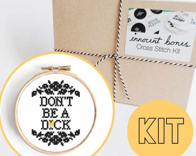 Featured listing image: Don't Be A D*ck Modern Cross Stitch Kit - easy chart design with guide rude offensive bad taste funny quote mature embroidery kit swear word
