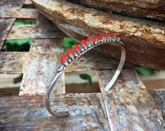 Vintage Coral and Silver Row Bracelet Old Pawn Native American Indian Jewelry Stacking Bracelet