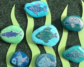 Fish-themed painted rocks, set of seven
